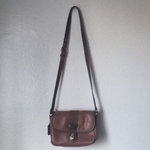 VINTAGE COACH BROWN CROSSBODY FLAP BAG